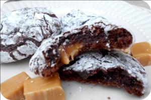 Caramel Brownie Crinkle Cookies