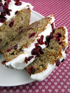 Cranberry Ginger White Chocolate Bread with Cream Cheese Frosting