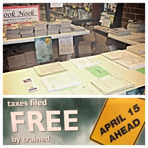 Contact the library to find out more about free tax filing, and to see if you qualify